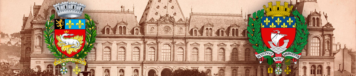 Entre Paris et Le Havre - illustration représentant les blason du Havre et de Paris devant l'image d'ancien Mairie du Havre